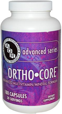 Ortho-Core, Advanced Multivitamin/Mineral Formula, 180 Capsules by Advanced Orthomolecular Research AOR-Sverige