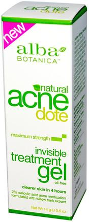 Acne Dote, Invisible Treatment Gel, Oil-Free, 0.5 oz (14 g) by Alba Botanica-Skönhet, Akne Aktuella Produkter, Ansiktsvård, Krämer Lotioner, Serum