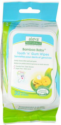 Bamboo Baby Wipes, Tooth n Gum, 30 Wipes by Aleva Naturals-Baby Våtservetter, Räddning