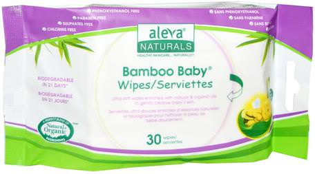 Bamboo Baby Wipes, 30 Wipes by Aleva Naturals-Barns Hälsa, Diapering, Barnservetter