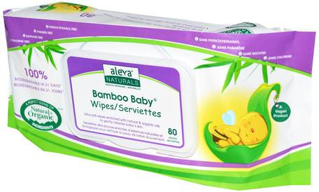 Bamboo Baby Wipes, 80 Wipes by Aleva Naturals-Barns Hälsa, Diapering, Barnservetter