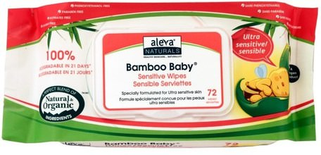 Bamboo Baby Wipes, Ultra Sensitive, 72 Wipes by Aleva Naturals-Barns Hälsa, Diapering, Barnservetter