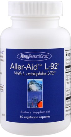 Aller-Aid L-92 with L. Acidophilus L-92, 60 Vegetarian Capsules by Allergy Research Group-Kosttillskott, Hälsa, Allergier