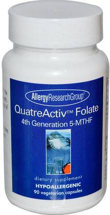 QuatreActiv Folate, 4th Generation 5-MTHF, 90 Veggie Caps by Allergy Research Group-Vitaminer, Folsyra, 5-Mthf Folat (5 Metyltetrahydrofolat)