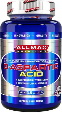 100% Pure Pharmaceutical Grade, D-Aspartic Acid, 3.5 oz (100 g) by ALLMAX Nutrition-Hälsa, Energi, Sport