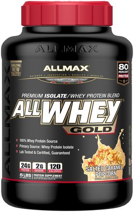 AllWhey Gold, 100% Whey Protein + Premium Whey Protein Isolate, Salted Caramel Popcorn, 5 lbs. (2.27 kg) by ALLMAX Nutrition-Sporter