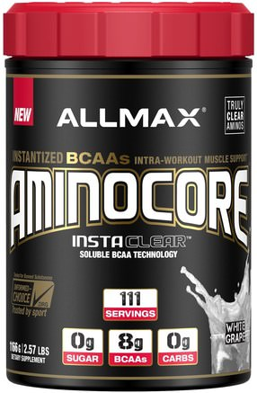 Aminocore, BCAA Max Strength, 8G Branched Chain Amino Acid, Gluten Free, White Grape, 2.57 lbs (1166 g) by ALLMAX Nutrition-Hälsa, Energi, Sport