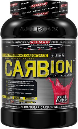CARBion+, Maximum Strength Electrolyte + Hydration Energy Drink, Fruit Punch, 2.46 lbs. (1.12 k) by ALLMAX Nutrition-Sport, Träning