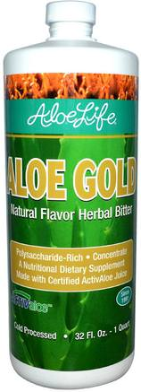 Inc, Aloe Gold, Natural Flavor Herbal Bitter, 32 fl oz (1 Quart) by Aloe Life International-Kosttillskott, Aloe Vera, Aloe Vera Flytande
