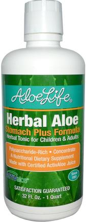 Inc, Herbal Aloe, Stomach Plus Formula, 32 fl oz (1 Quart) by Aloe Life International-Kosttillskott, Aloe Vera, Aloe Vera Flytande, Hälsa, Matsmältning, Mage