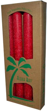 Palm Wax Taper Candles, Unscented, Red, 4 Pack, 9 in (23 cm) Each by Aloha Bay-Bad, Skönhet, Ljus