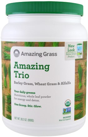 The Amazing Trio, Barley Grass & Wheat Grass & Alfalfa, 28.2 oz (800 g) by Amazing Grass-Kosttillskott, Superfoods, Fantastiskt Gräs Den Fantastiska Trioen, Korngräs