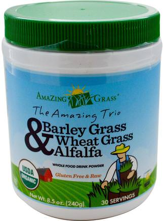 The Amazing Trio, Barley Grass & Wheat Grass & Alfalfa, 8.5 oz (240 g) by Amazing Grass-Kosttillskott, Superfoods, Fantastiskt Gräs Den Fantastiska Trioen, Korngräs