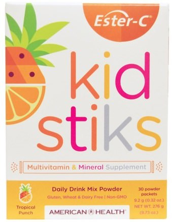 Ester-C Kidstiks, Daily Drink Mix Powder, Tropical Punch Flavor, 30 Powder Packets, 9.2 g (0.32 oz) Each by American Health-Vitaminer, Vitamin C, Multivitaminer, Barn Multivitaminer
