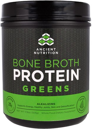 Bone Broth Protein Greens, 17.8 oz (505 g) by Ancient Nutrition-Hälsa, Ben, Osteoporos, Gemensam Hälsa, Benbuljong