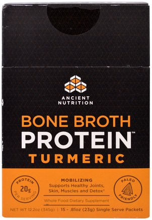 Bone Broth Protein, Turmeric, 15 Single Serve Packets.81 oz (23 g) Each by Ancient Nutrition-Hälsa, Ben, Osteoporos, Gemensam Hälsa, Benbuljong, Tillskott, Curcumin