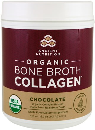 Organic Bone Broth Collagen, Chocolate, 16.2 oz (460 g) by Ancient Nutrition-Hälsa, Ben, Osteoporos, Gemensam Hälsa, Benbuljong, Kosttillskott, Protein