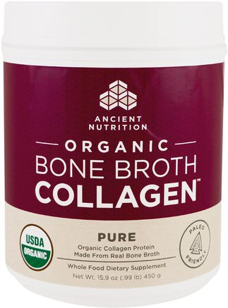 Organic Bone Broth Collagen, Pure, 15.9 oz (450 g) by Ancient Nutrition-Hälsa, Ben, Osteoporos, Gemensam Hälsa, Benbuljong, Kosttillskott, Protein