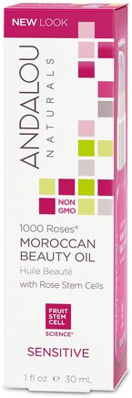 1000 Roses, Moroccan Beauty Oil, Sensitive, 1 fl oz (30 ml) by Andalou Naturals-Skönhet, Ansiktsvård, Hudtyp Rosacea, Känslig Hud, Bad, Arganolja