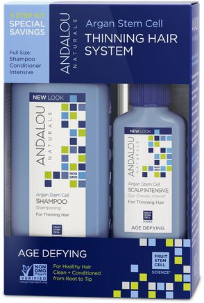 Argan Stem Cell, Thinning Hair System, Age Defying, 3 Piece Kit by Andalou Naturals-Bad, Skönhet, Arganschampo, Hår, Hårbotten, Schampo, Balsam