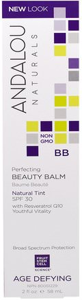 BB Perfecting Beauty Balm, Natural Tint, SPF 30, Age Defying, 2 fl oz (58 ml) by Andalou Naturals-Skönhet, Ansiktsvård, Spf Ansiktsvård