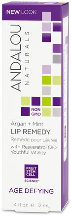 Lip Remedy, Age Defying, Argan + Mint.4 fl oz (12 ml) by Andalou Naturals-Bad, Skönhet, Argan Läppbalsam, Ansiktsvård, Krämer Lotioner, Serum
