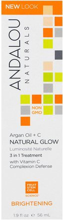 Natural Glow, 3 in 1 Treatment, Argan Oil + C, Brightening, 1.9 fl oz (56 ml) by Andalou Naturals-Hälsa, Hud Serums, Bad, Skönhet, Argan Ansikts Krämer