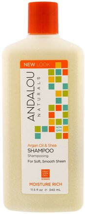 Shampoo, For Soft, Smooth Sheen, Moisture Rich, Argan Oil & Shea, 11.5 fl oz (340 ml) by Andalou Naturals-Bad, Skönhet, Arganschampo, Hår, Hårbotten, Schampo, Balsam
