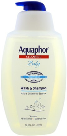 Baby Wash & Shampoo, Natural Chamomile Essence, Fragrance Free, 25.4 fl oz (750 ml) by Aquaphor-Bad, Skönhet, Duschgel, Barn Kroppsvask, Barn Duschgel, Hår, Hårbotten, Schampo, Balsam