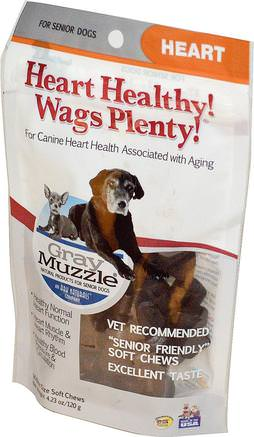 Heart Healthy! Wags Plenty!, Gray Muzzle, Heart, For Senior Dogs, 60 Bite Size Soft Chews, 4.23 oz (120 g) by Ark Naturals-Husdjursvård, Husdjur Hundar, Jerkys Ben Och Kex