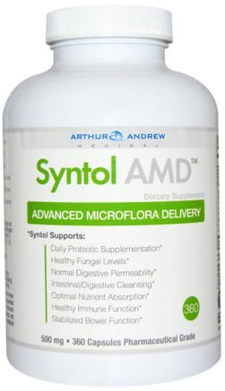 Syntol AMD, Advanced Microflora Delivery, 500 mg, 360 Capsules by Arthur Andrew Medical-Kosttillskott, Enzymer, Arthur Andrew Medicinsk Syntol Amd, Serrapeptas