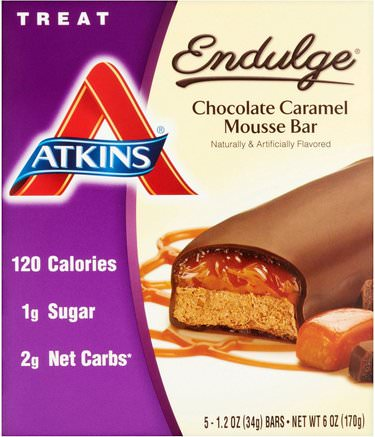 Endulge, Chocolate Caramel Mousse Bar, 5 Bars, 1.2 oz (34 g) Per Bar by Atkins-Mat, Mellanmål, Hälsosam Mellanmål, Atkins Sluta