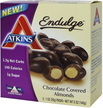 Endulge, Chocolate Covered Almonds, 5 Packs, 1 oz (28 g) Each by Atkins-Mat, Mellanmål, Godis, Atkins Sluta
