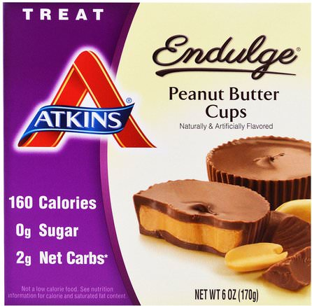 Endulge, Peanut Butter Cups, 5 Packs, 1.2 oz (34 g) Each by Atkins-Mat, Jordnötssmör, Atkins Sluta