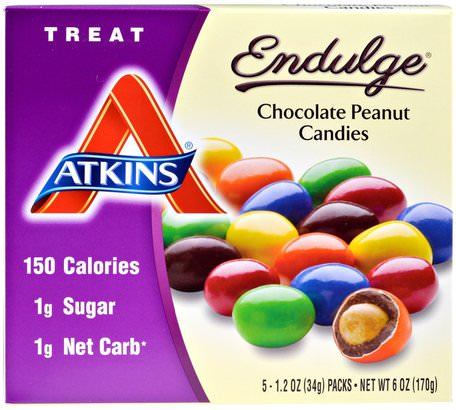 Treat Endulge, Chocolate Peanut Candies, 5 Packs, 1.2 oz (34 g) Each by Atkins-Mat, Mellanmål, Godis, Atkins Sluta