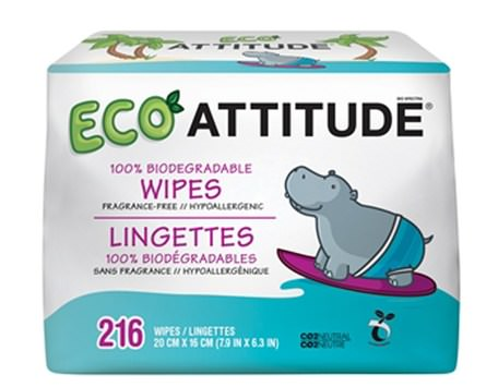 Eco Wipes, Fragrance-Free, 216 Wipes by ATTITUDE-Barns Hälsa, Diapering, Barnservetter