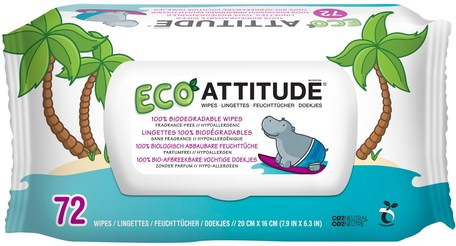 Eco Wipes, Fragrance-Free, 72 Wipes by ATTITUDE-Barns Hälsa, Diapering, Barnservetter