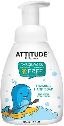 Little Ones, Foaming Hand Soap, Pear Nectar, 10 fl oz (295 ml) by ATTITUDE-Barnens Hälsa, Barnbad, Barntvål