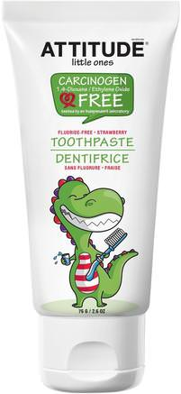 Little Ones, Toothpaste, Fluoride Free, Strawberry, 2.6 oz (75 g) by ATTITUDE-Barns Hälsa, Barnomsorg, Tandkräm, Barn Och Barntandkräm
