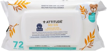 Sensitive Skin Care, Baby, Natural Baby Wipes, Fragrance Free, 72 Wipes by ATTITUDE-Barns Hälsa, Diapering, Barnservetter