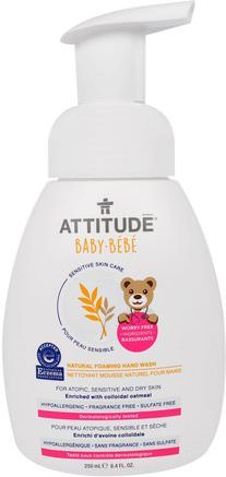 Sensitive Skin Care, Baby, Natural Foaming Hand Wash, Fragrance Free, 8.4 fl oz (250 ml) by ATTITUDE-Bad, Skönhet, Tvål, Skummande Tvål, Barnhälsa, Barntvål