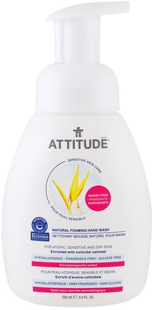 Sensitive Skin Care, Natural Foaming Hand Wash, Fragrance Free, 8.4 fl oz (250 ml) by ATTITUDE-Bad, Skönhet, Tvål, Skumbildning, Attitydkänslig Hudvård