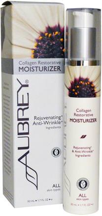Collagen Restorative Moisturizer, All Skin Types, 1.7 fl oz (50 ml) by Aubrey Organics-Skönhet, Ansiktsvård, Krämer Lotioner, Serum, Hud Typ Anti Aging Hud