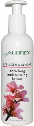 Enriching Moisturizing Lotion, Collagen & Almond, 8 fl oz (237 ml) by Aubrey Organics-Hälsa, Ben, Osteoporos, Kollagen, Hud