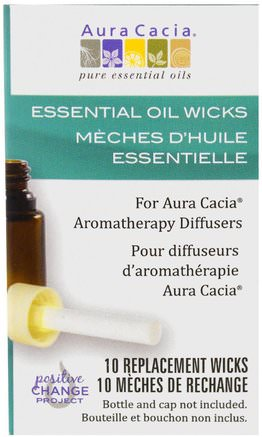 Aromatherapy Diffusers, Essential Oil Wicks, 10 Replacement Wicks by Aura Cacia-Bad, Skönhet, Aromterapi Eteriska Oljor, Luft Diffusorer
