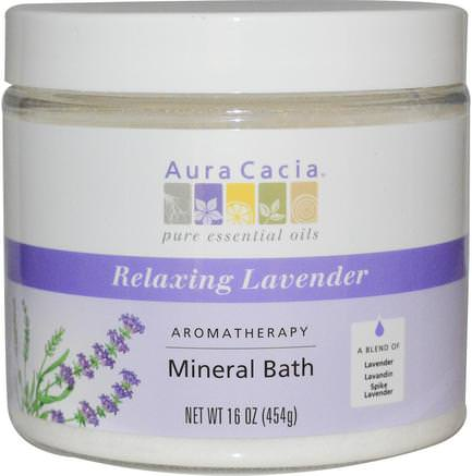 Aromatherapy Mineral Bath, Relaxing Lavender, 16 oz (454 g) by Aura Cacia-Bad, Skönhet, Badsalter