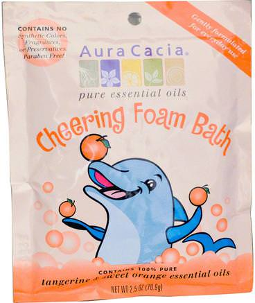 Cheering Foam Bath, Tangerine & Sweet Orange, 2.5 oz (70.9 g) by Aura Cacia-Bad, Skönhet, Badsalt, Barnbad