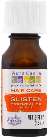 Hair Care, Essential Oil Blend, Glisten.5 fl oz (15 ml) by Aura Cacia-Bad, Skönhet, Hår, Hårbotten, Aromaterapi Eteriska Oljor