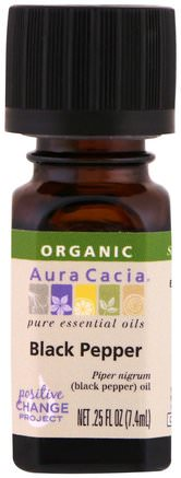 Organic 100% Pure Essential Oil, Black Pepper.25 fl oz (.74 ml) by Aura Cacia-Hälsa, Hud, Massageolja