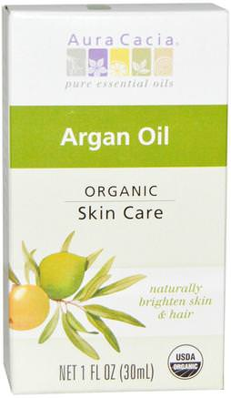 Organic Argan Oil, 1 fl oz (30 ml) by Aura Cacia-Bad, Skönhet, Argan Ansiktsvård